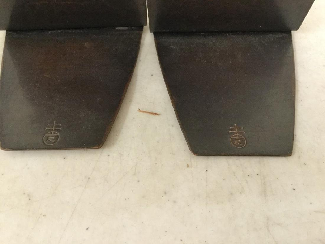 """PAIR ROYCROFT COPPER HAND HAMMERED BOOKENDS MEASURE 5"""" - 4"""