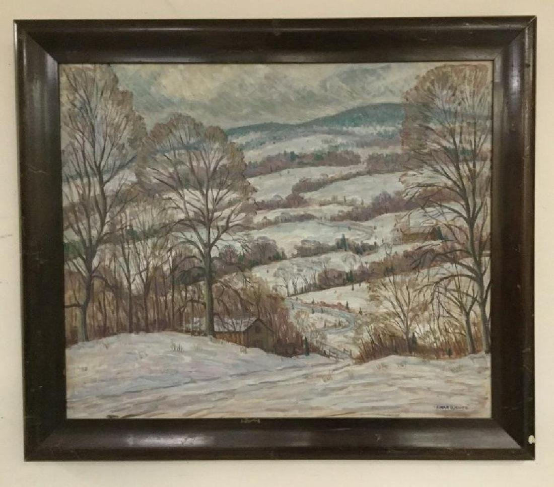 EDGAR O. MINER (1915-2003) O/C WINTER LANDSCAPE WITH