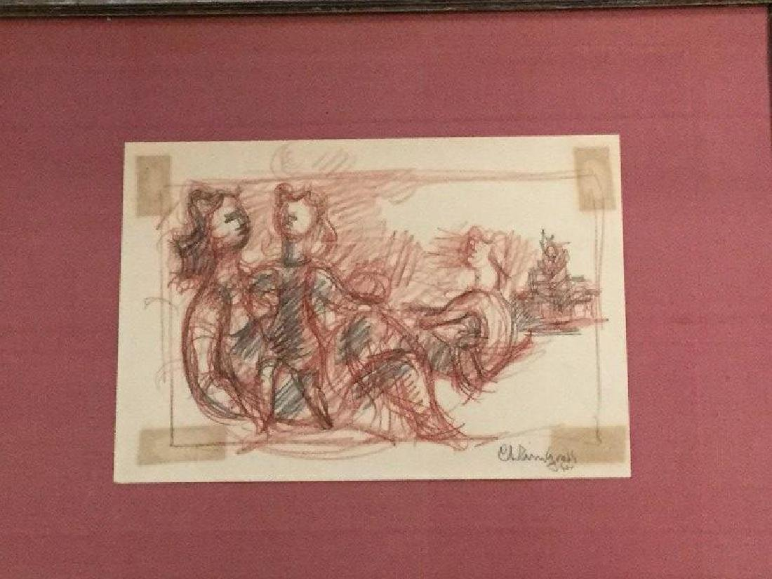CHAIM GROSS CRAYON DRAWING OF FIGURES, LORINGS ART - 2
