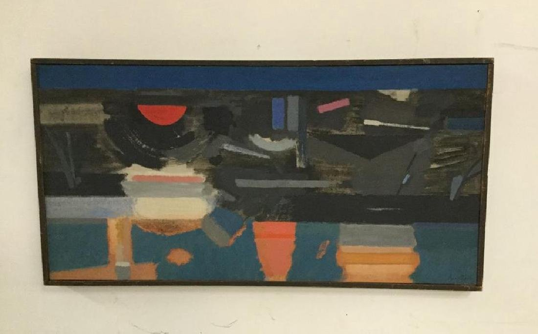 HOWARD KNOTTS ABSTRACT O/C TITLED EVENING ON THE RIVER,