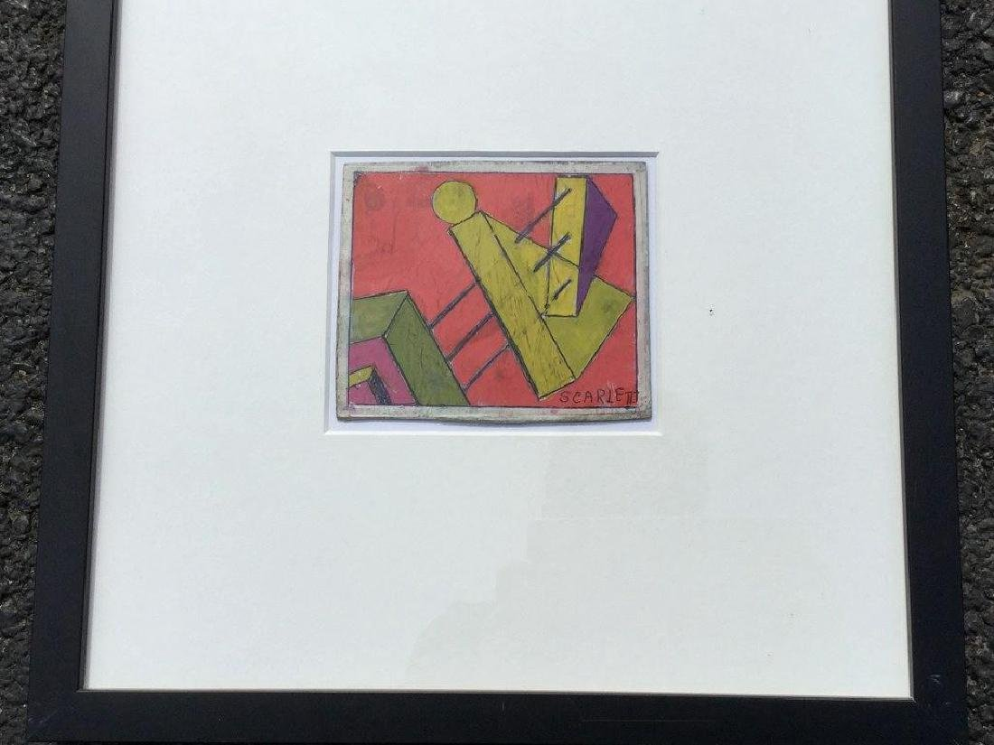 ROLPH SCARLETT ABSTRACT GOAUCHE, FRAMED AND MATTED, - 2