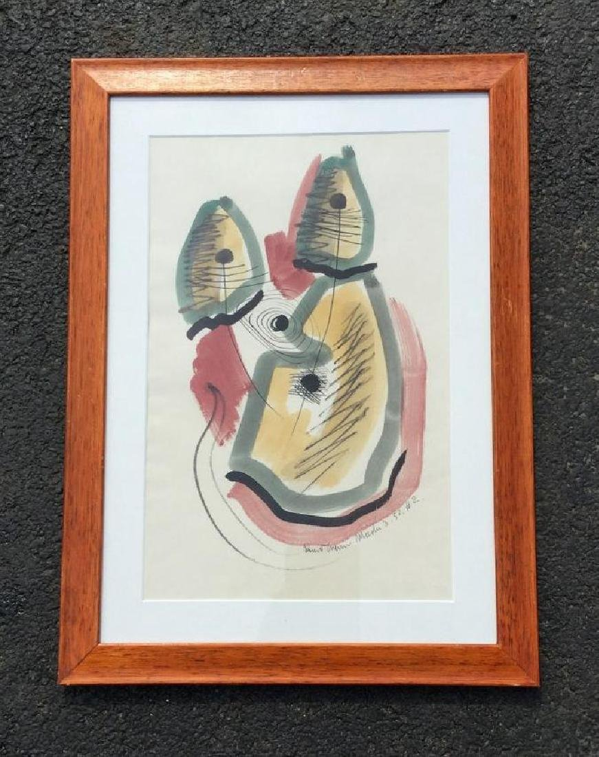 KONRAD CRAMER ABSTRACT W/C AND INK, DATED 1952, FRAMED