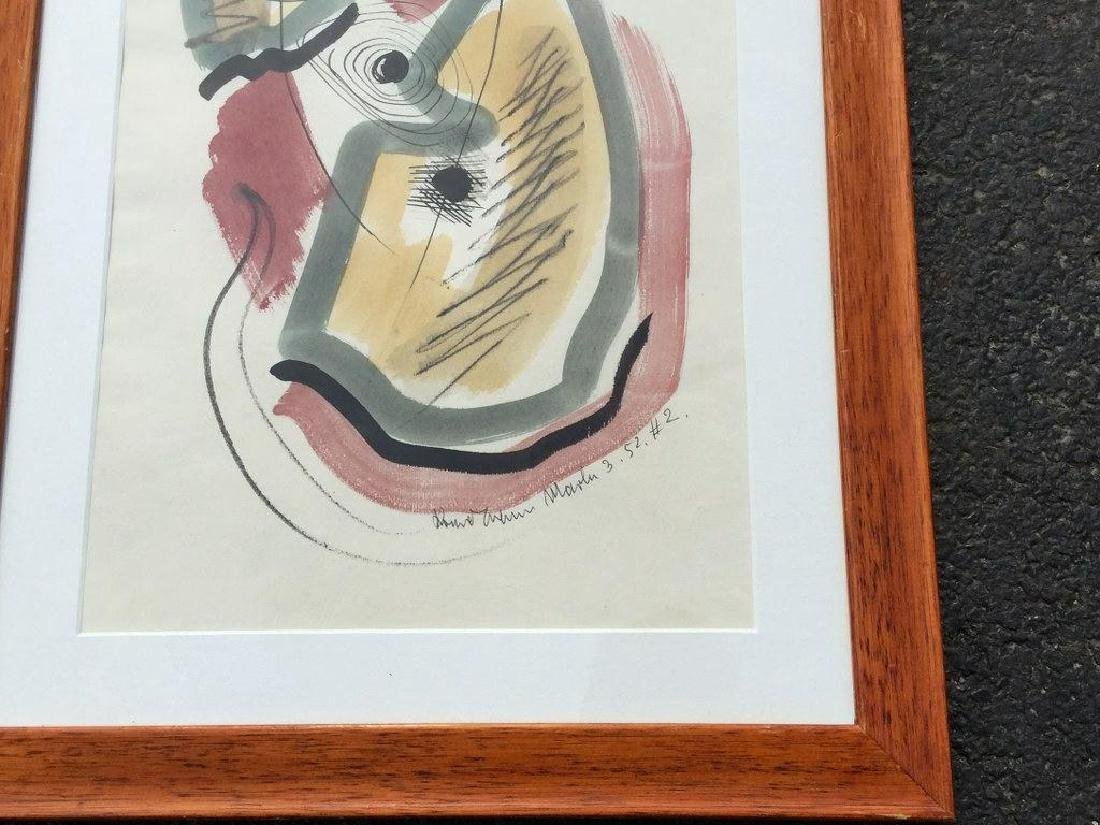 KONRAD CRAMER ABSTRACT W/C AND INK, DATED 1952, FRAMED - 2