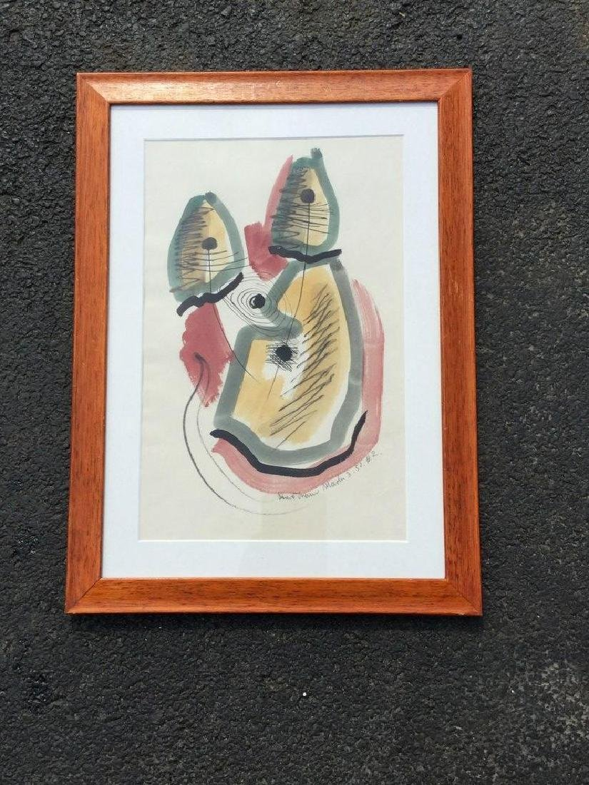 KONRAD CRAMER ABSTRACT W/C AND INK, DATED 1952, FRAMED - 3