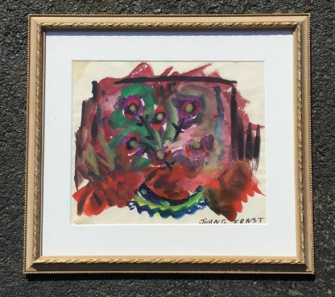 JOHN ERNST ABSTRACT W/C, SIGNED LOWER RIGHT, FRAMED AND