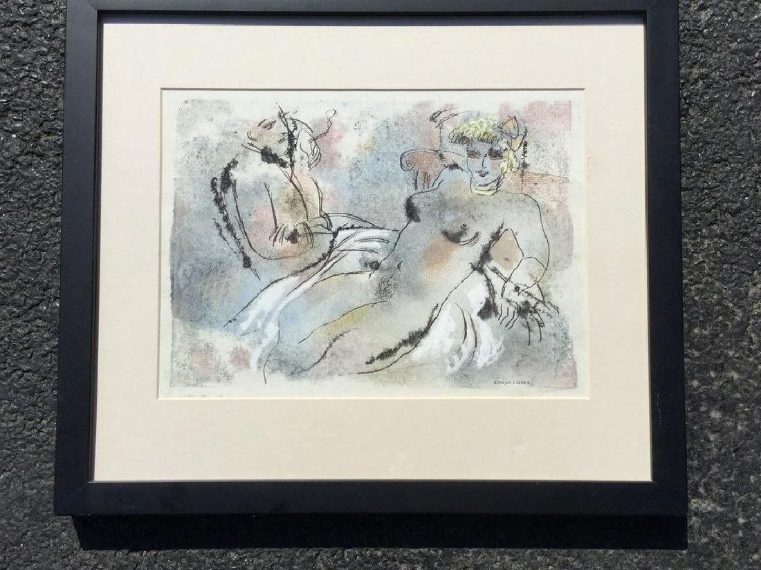 KONRAD CRAMER PASTEL WATERCOLOR AND INK, NUDE WOMAN
