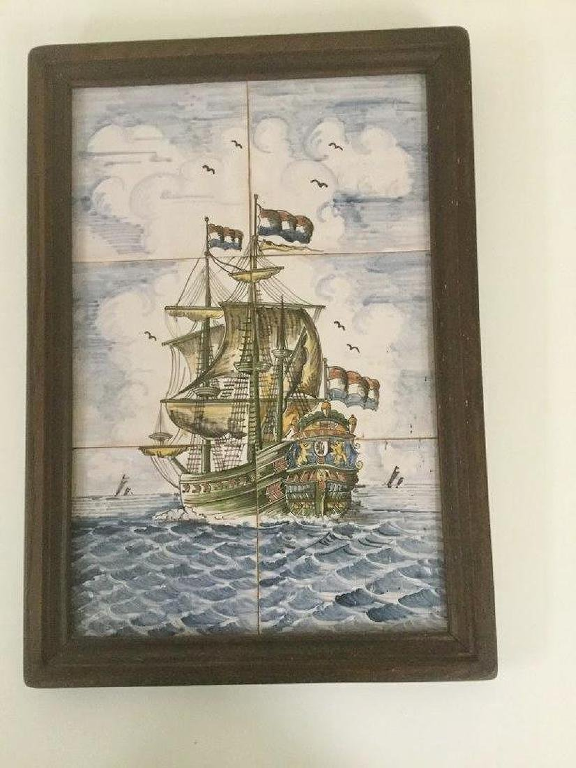 FRAMED HAND PAINTED FRIESLAND TILES OF THE DUTCH
