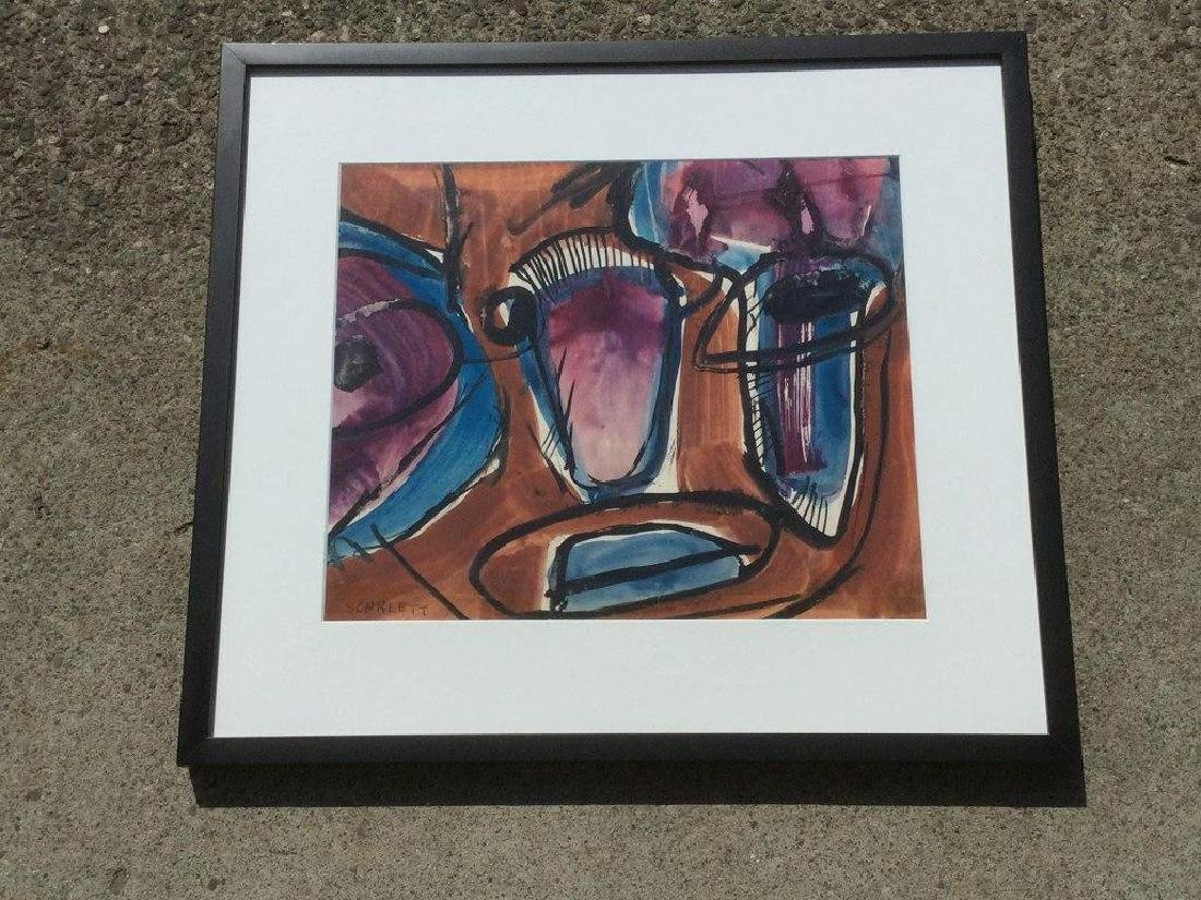 ROLPH SCARLETT ABSTRACT W/C, NICELY FRAMED AND MATTED,