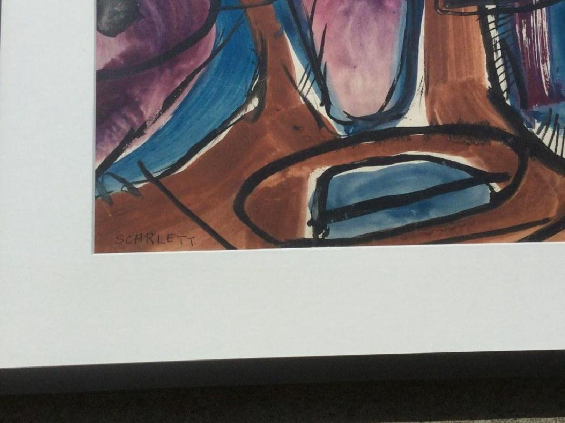 ROLPH SCARLETT ABSTRACT W/C, NICELY FRAMED AND MATTED, - 2