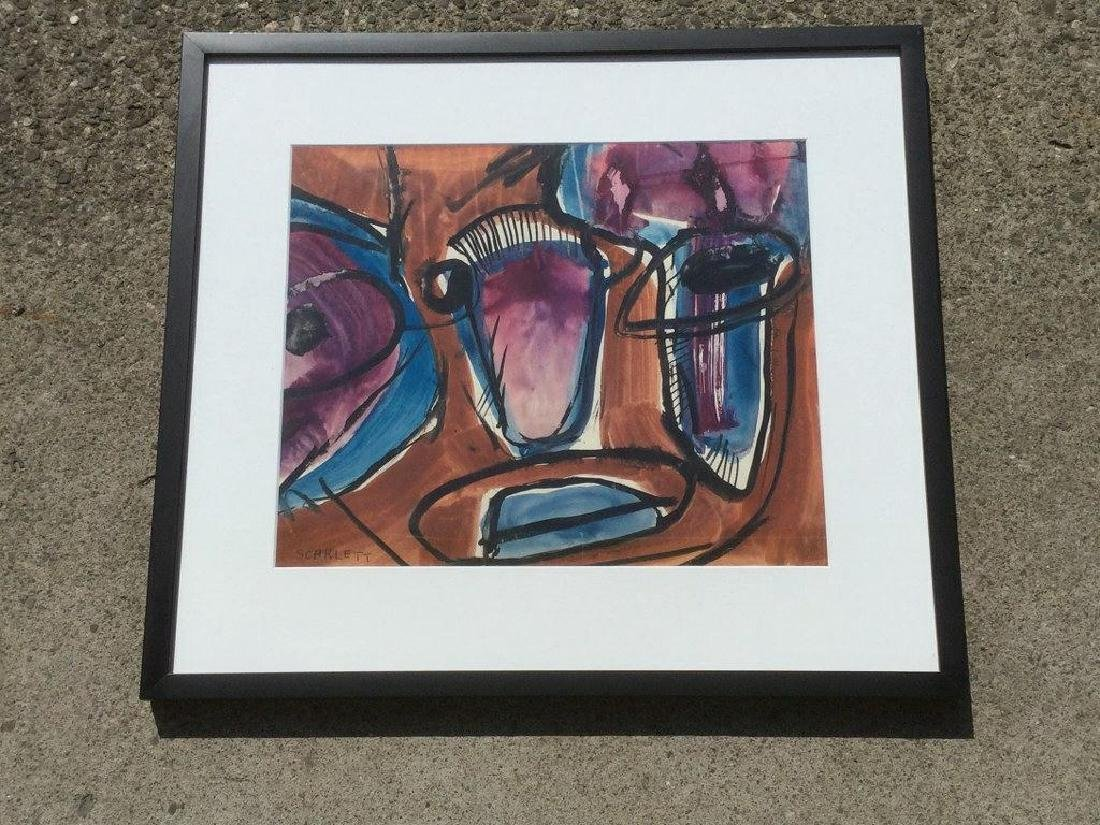 ROLPH SCARLETT ABSTRACT W/C, NICELY FRAMED AND MATTED, - 3