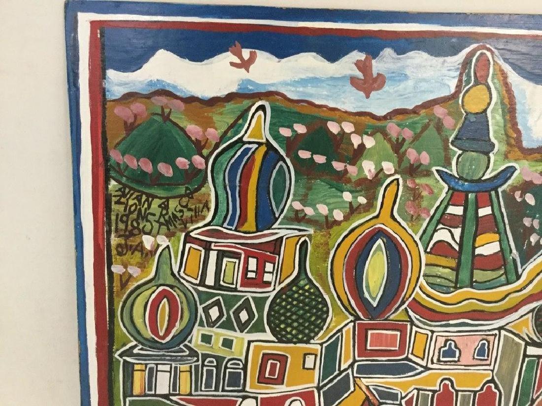 ALLAN ZION JAMAICAN OUTSIDER ARTIST O/MASONITE, - 2