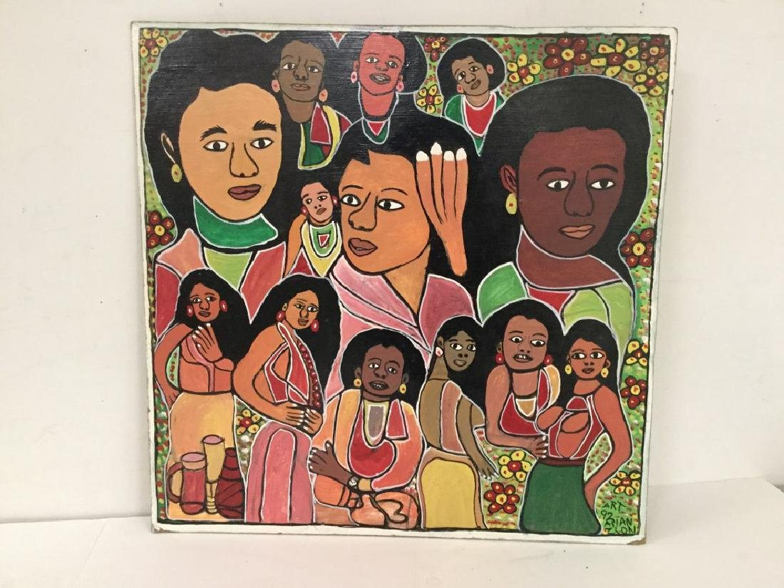 ALLAN ZION OUTSIDER JAMAICAN ARTIST O/B GROUP PAINTING
