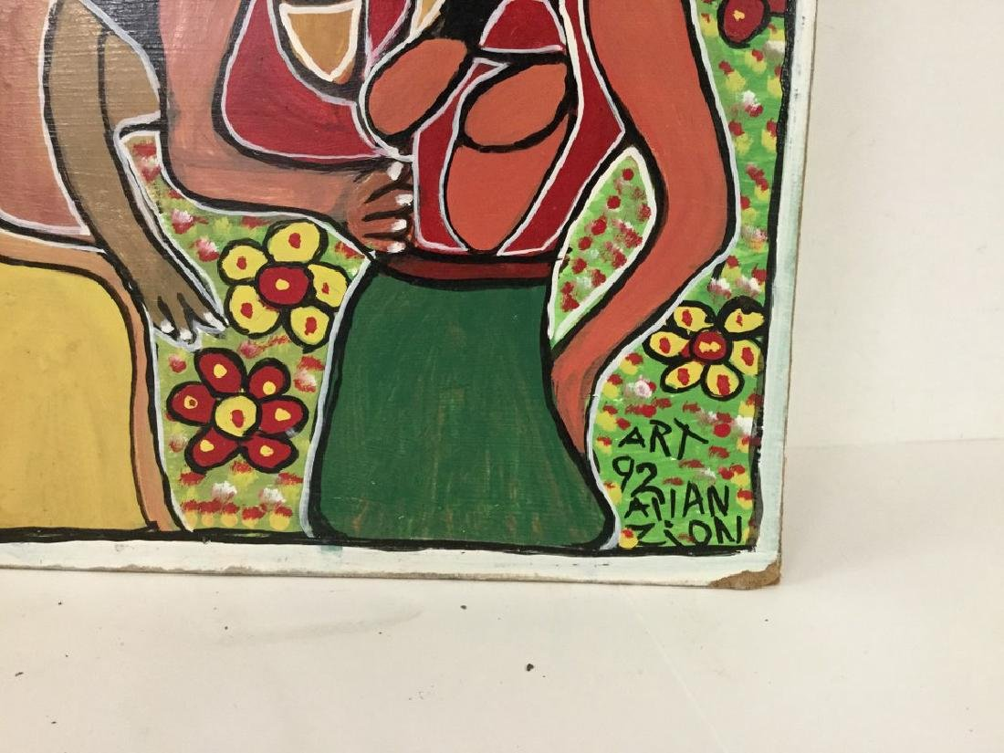 ALLAN ZION OUTSIDER JAMAICAN ARTIST O/B GROUP PAINTING - 2