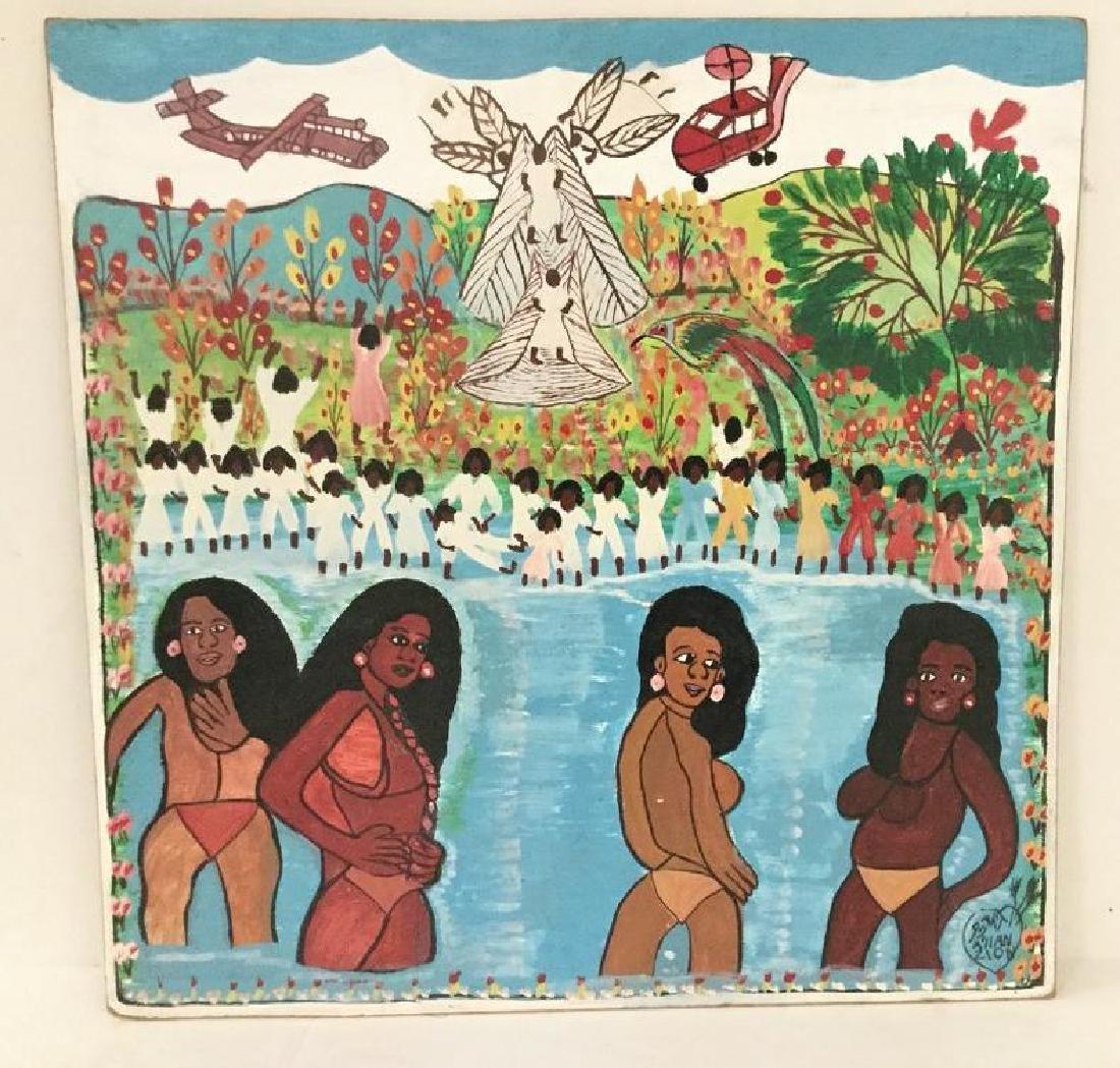 ALLAN ZION JAMAICAN OUTSIDER ARTIST O/B UNTITLED, GIRLS