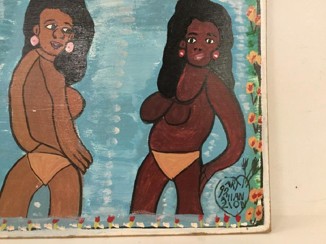 ALLAN ZION JAMAICAN OUTSIDER ARTIST O/B UNTITLED, GIRLS - 2