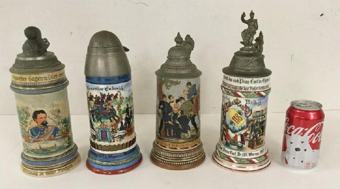4 OLDER GERMAN MILITARY STEINS, SOME WITH FIGURAL TOPS,