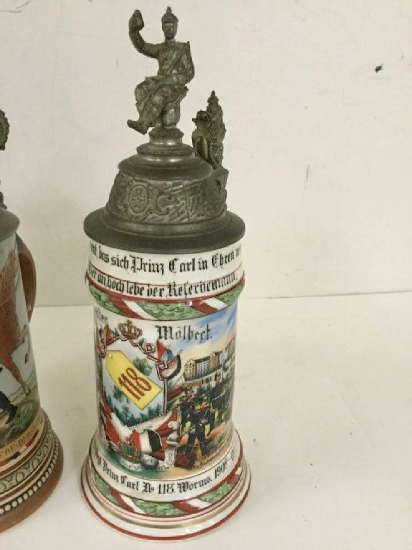4 OLDER GERMAN MILITARY STEINS, SOME WITH FIGURAL TOPS, - 2