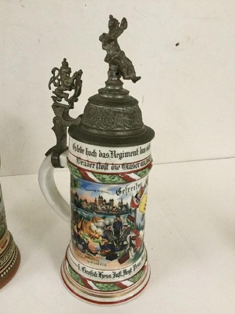 4 OLDER GERMAN MILITARY STEINS, SOME WITH FIGURAL TOPS, - 3