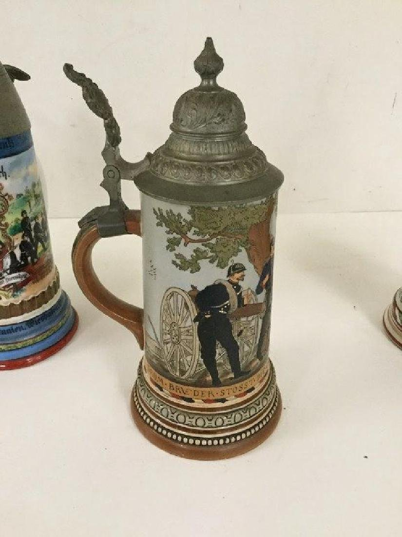 4 OLDER GERMAN MILITARY STEINS, SOME WITH FIGURAL TOPS, - 5