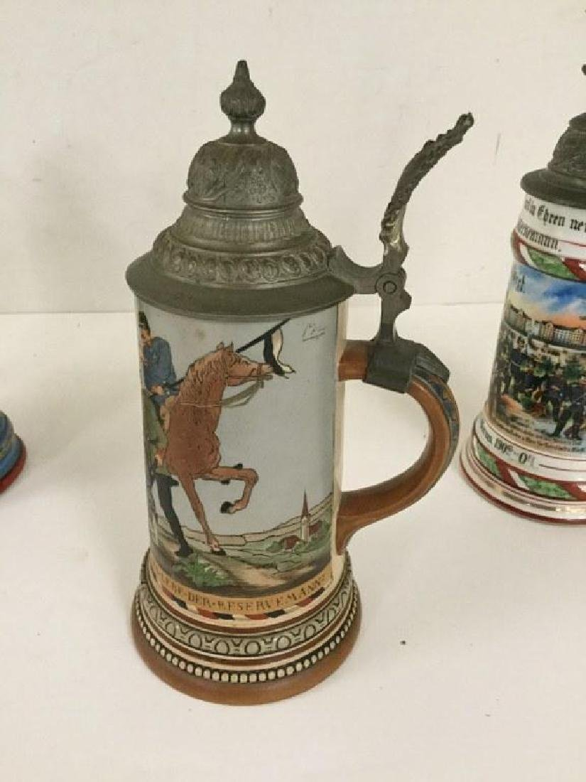 4 OLDER GERMAN MILITARY STEINS, SOME WITH FIGURAL TOPS, - 6