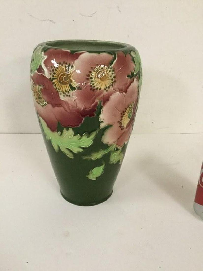 "ST. CLEMENT 10 1/2"" HIGH PORCELAIN VASE WITH FLOWERS, - 2"