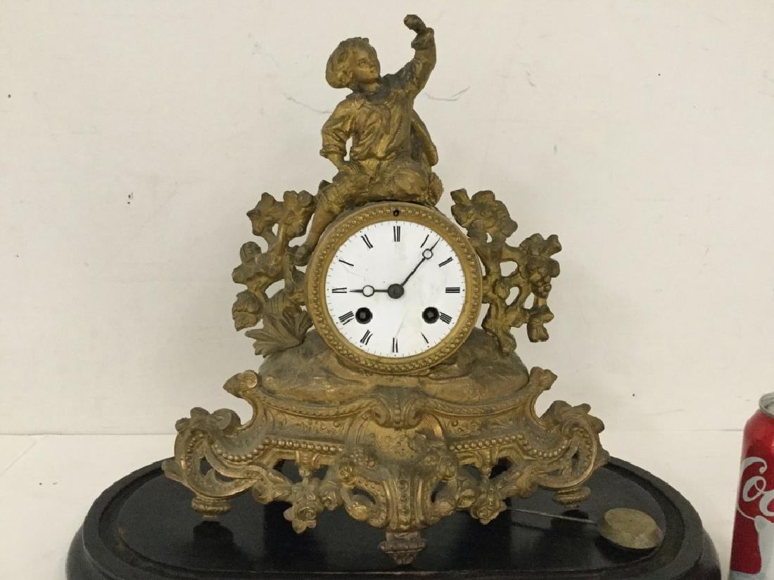 E. PANNARD AS FOUND FIGURAL CLOCK, HAIRLINE CRACK ON - 2