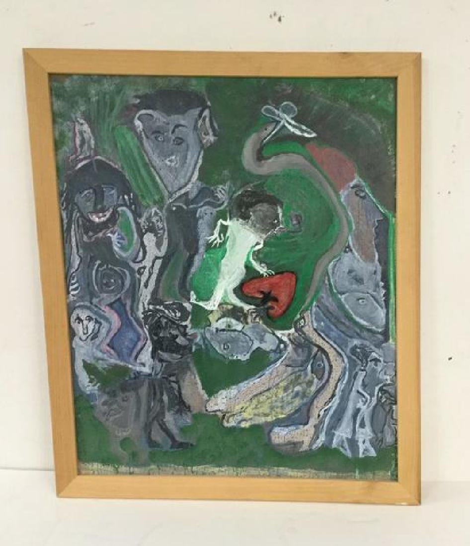 OUTSIDER ARTIST O/B OF IMPRESSIONIST FIGURES, UNSIGNED,