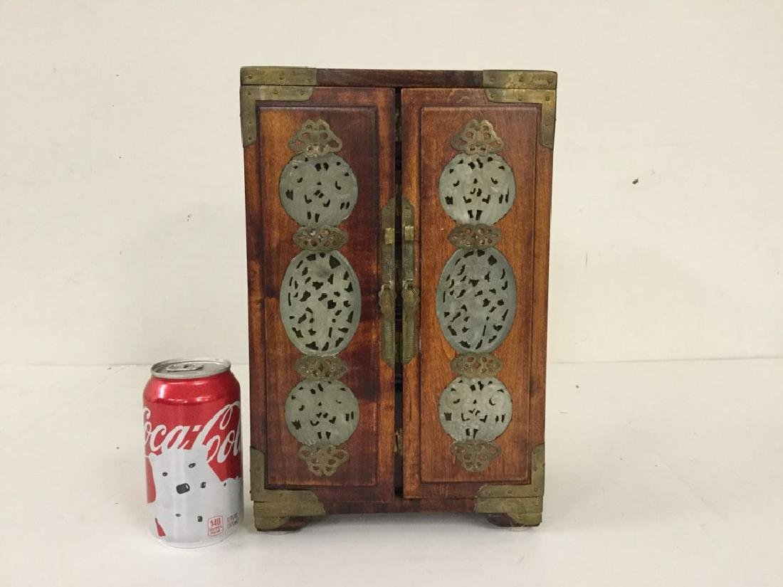 CIRCA 1920 ASIAN SMALL CHEST W/5 DRAWERS INSIDE & JADE