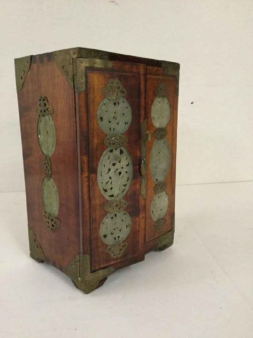 CIRCA 1920 ASIAN SMALL CHEST W/5 DRAWERS INSIDE & JADE - 2