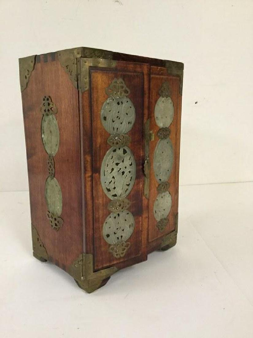 CIRCA 1920 ASIAN SMALL CHEST W/5 DRAWERS INSIDE & JADE - 3