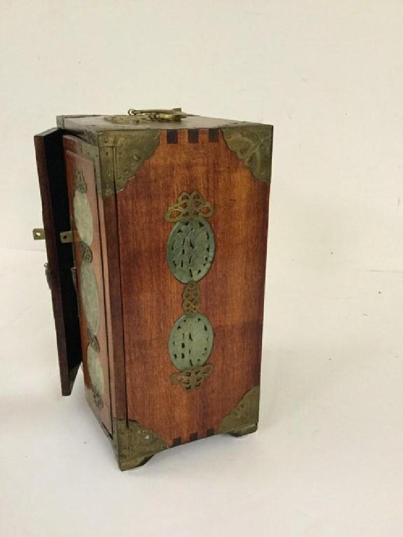 CIRCA 1920 ASIAN SMALL CHEST W/5 DRAWERS INSIDE & JADE - 4