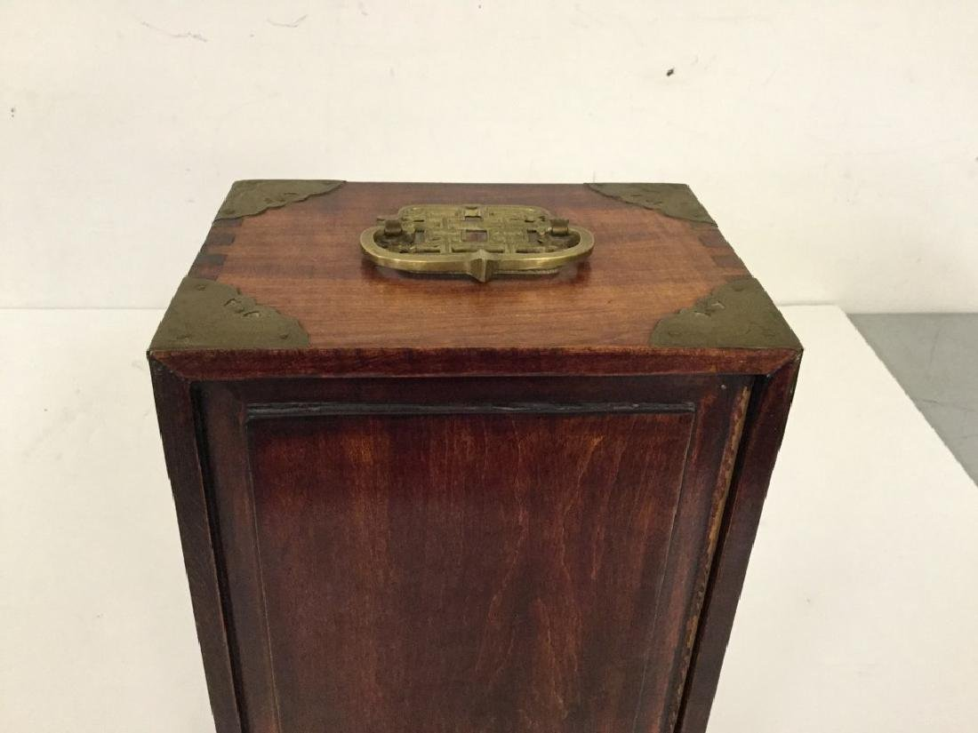 CIRCA 1920 ASIAN SMALL CHEST W/5 DRAWERS INSIDE & JADE - 6