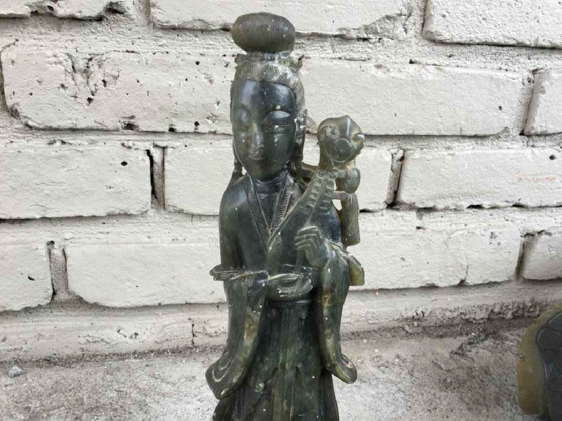 JADE FIGURE HOLDING AN INSTRUMENT, SMALL HOLE DRILLED - 3