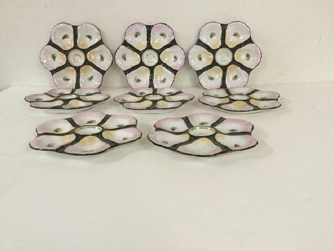 8 EARLY PORCELAIN OYSTER PLATES, SOME HAVE PAINT CHIPS - 2