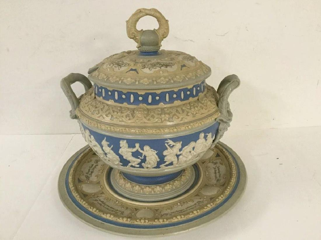 METTLACH COVERED TUREEN WITH UNDERPLATE, LIGHT