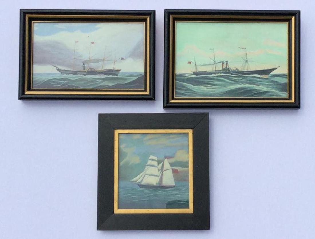 3 REPRODUCED SHIP PAINTINGS OF EARLY PAINTINGS, W/C AND