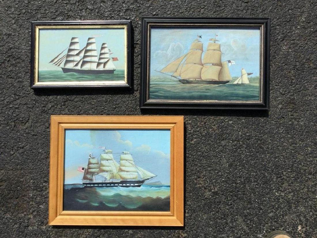 3 REPRODUCED SHIP PAINTINGS, I IDENTIFIED ON BACK,