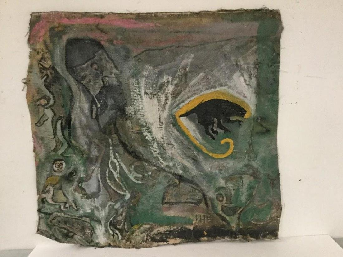 OUTSIDER ARTIST UNSTRETCHED SOUTHERN OUTSIDER ART