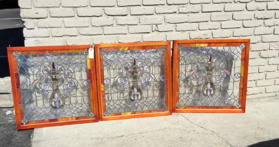 3 CONTEMPORARY STAINED GLASS WINDOWS OF URNS, STAINED