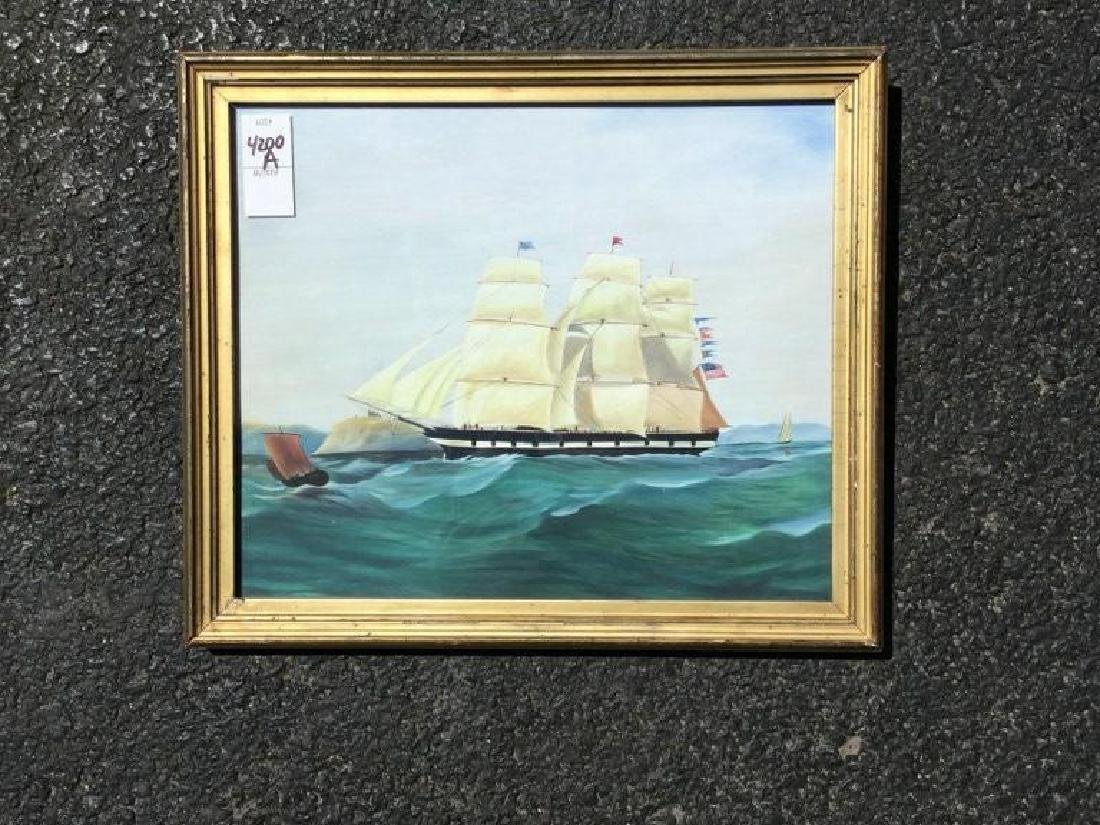 """REPRODUCED SHIP PAINTING, PAINTING MEASURES 10 1/2"""" X"""