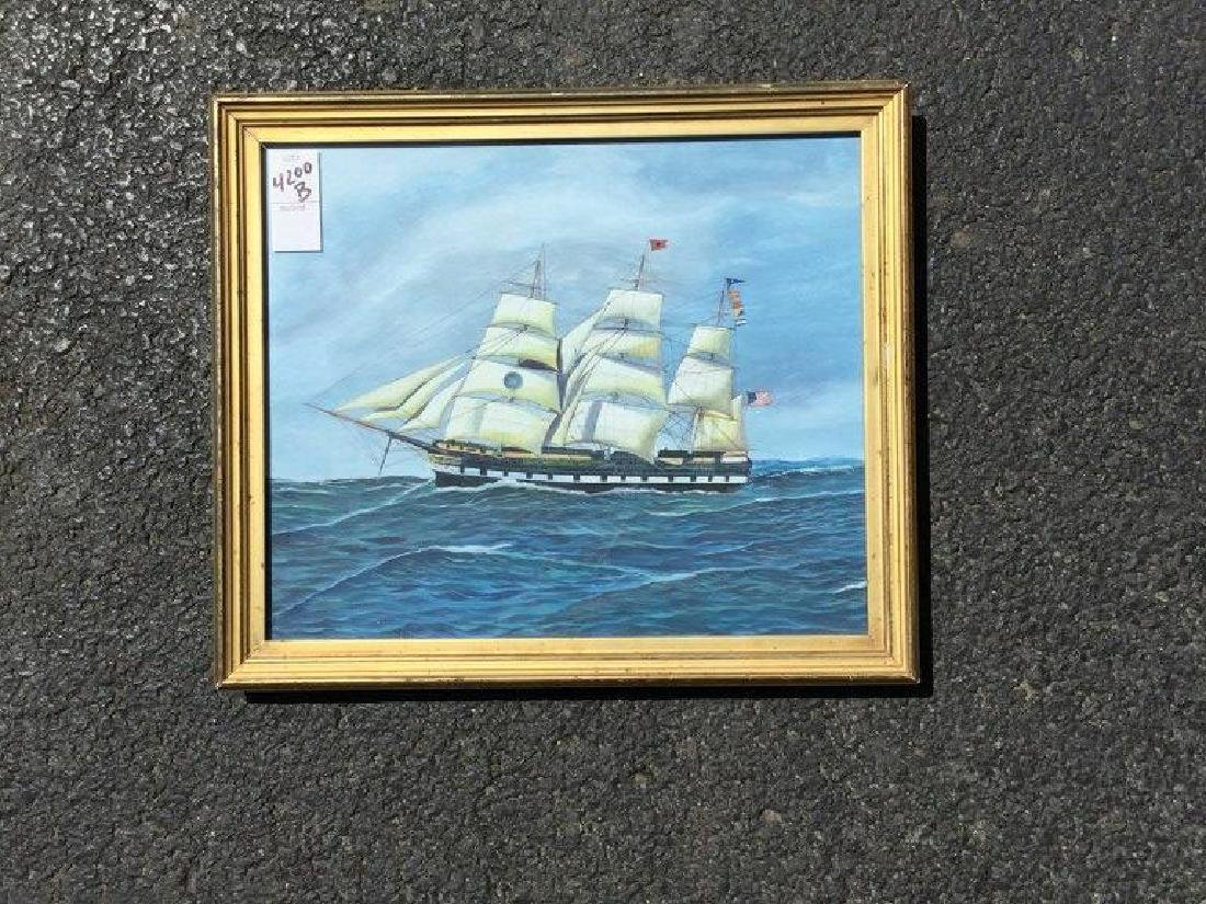 """REPRODUCED SHIP PAINTING,PAINTING MEASURES 10 1/2"""" X 12"""