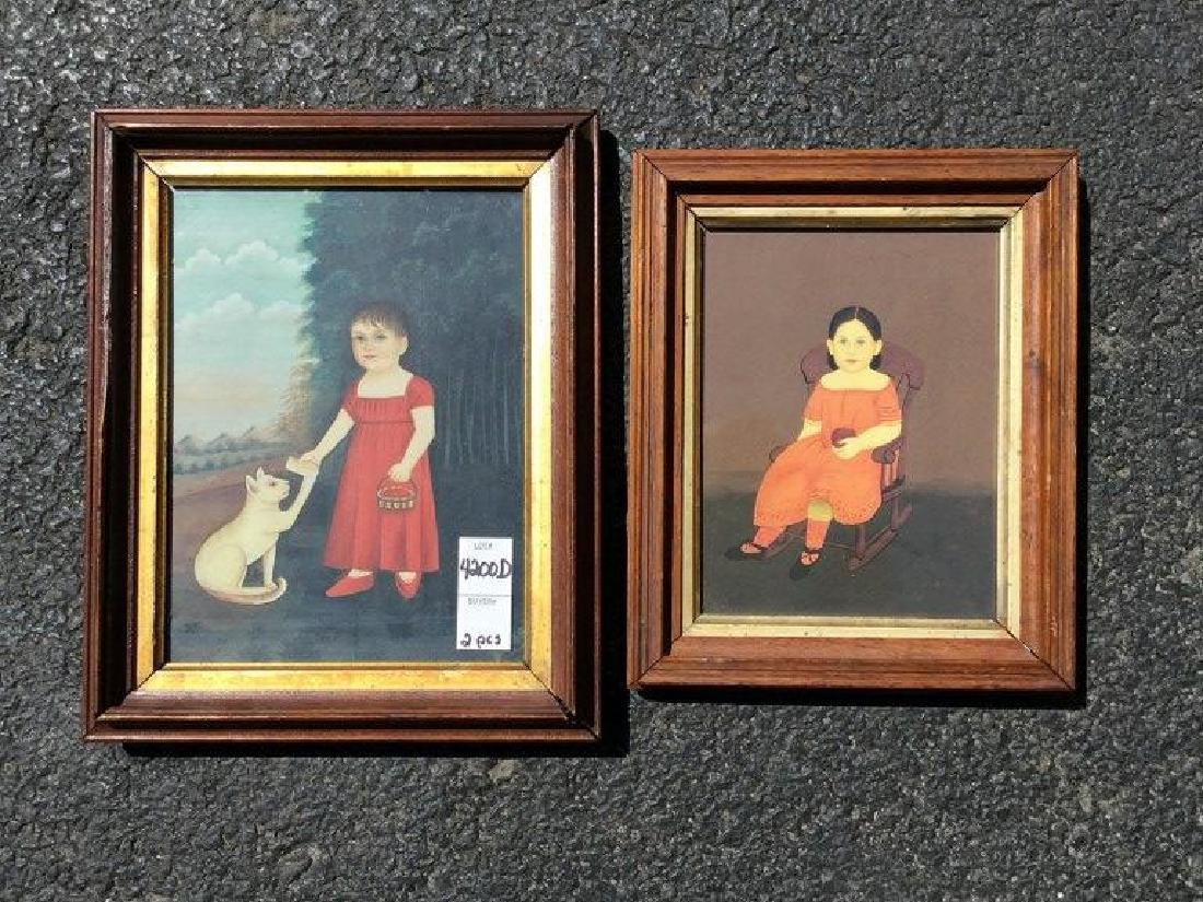 2 REPRODUCED PAINTINGS OF GIRLS, 1-GIRL IN ROCKING