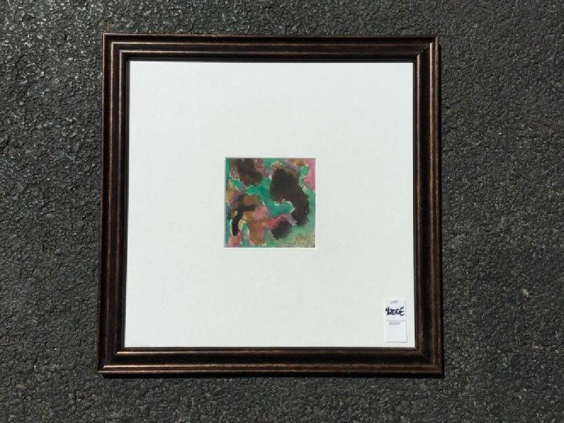 ROLPH SCARLETT ABSTRACT GOAUCHE, FRAMED AND MATTED,