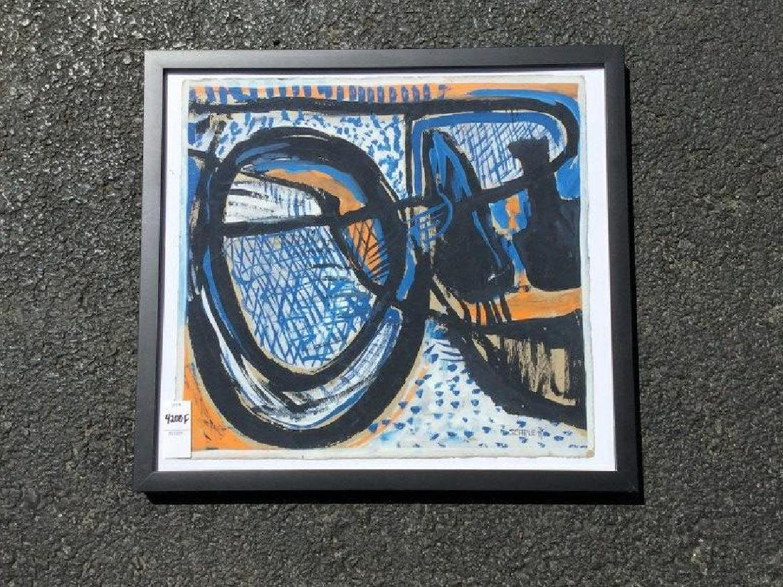 ROLPH SCARLETT ABSTRACT GOAUCHE, FRAMED, PAINTING