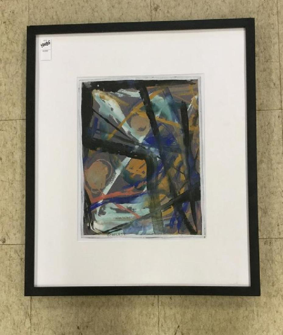 ROLPH SCARLETT ABSTRACT GOAUCHE, NICELY FRAMED AND