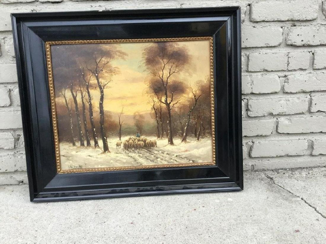 O/B WINTER LANDSCAPE WITH SHEEP HERDER AND SHEEP,