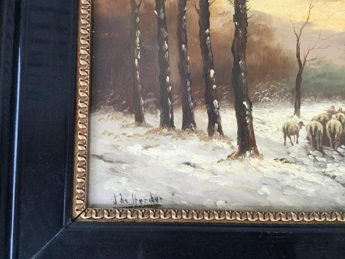 O/B WINTER LANDSCAPE WITH SHEEP HERDER AND SHEEP, - 2