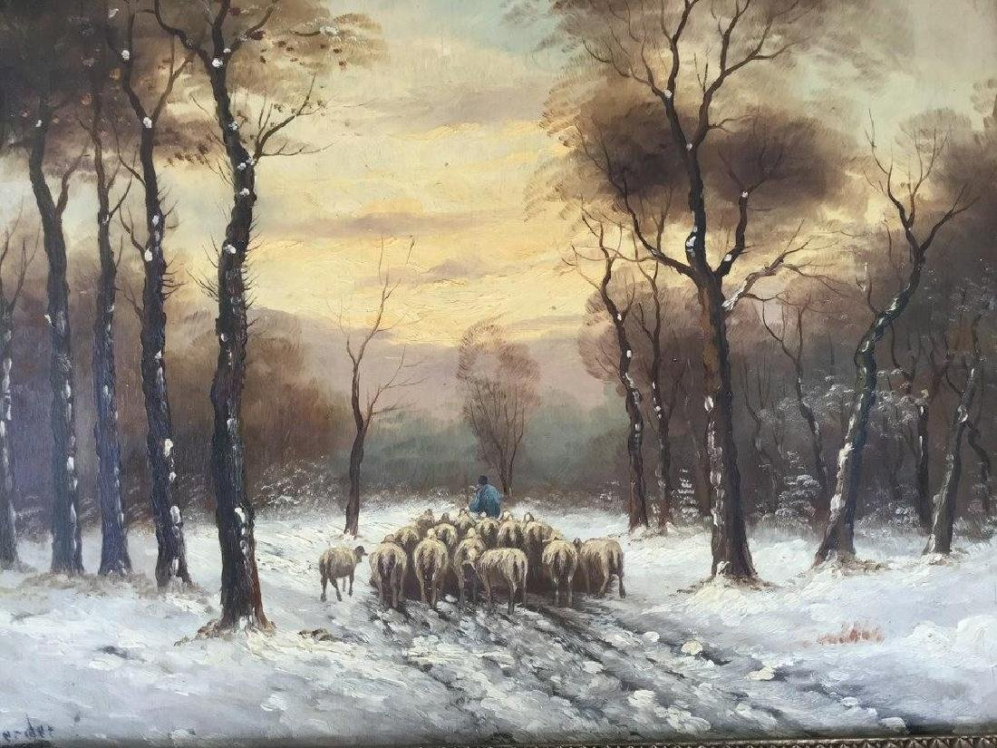 O/B WINTER LANDSCAPE WITH SHEEP HERDER AND SHEEP, - 3