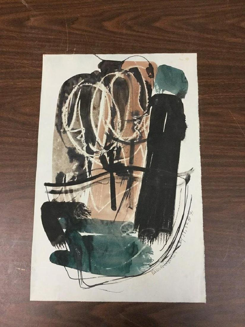 KONRAD CRAMER ABSTRACT W/C DATED 1952, SIGNED, MEASURES