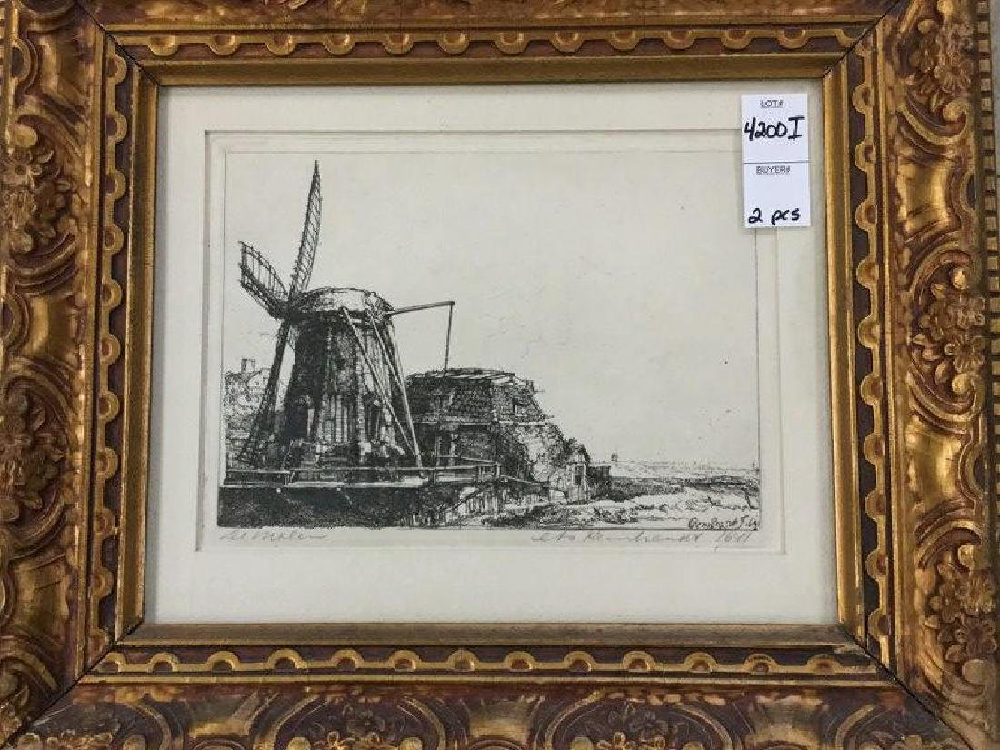 2 REMBRANDT ETCHINGS IN MATCHING FRAMES, NOT SURE WHAT - 2